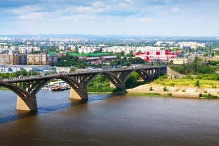 oka: View of Nizhny Novgorod with Molitovsky bridge through Oka River. Russia