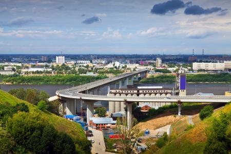 nizhni novgorod: View of Nizhny Novgorod.  Metro Bridge through Oka River. Russia