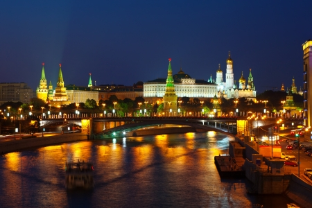 View of Moscow Kremlin in summer night  Russia photo
