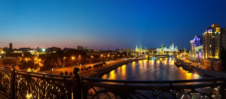 kreml: Kind to the Moscow Kremlin  and   Moskva River in night. Russia Stock Photo