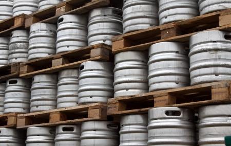 kegs: Beer kegs in rows outdoor Stock Photo