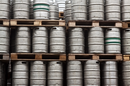 Beer kegs in rows outdoor photo