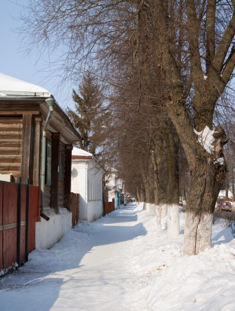 Street at Suzdal in winter, Russia photo