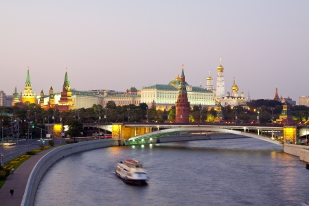 Kind to the Moscow Kremlin  and   Moskva River in dusk. Russia Stock Photo - 15022757