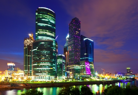 Moscow business centre  in summer night