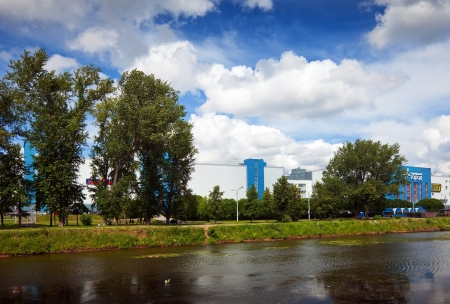 census: IVANOVO, RUSSIA - JUNE 27: Shopping centers along the river Uvod on June 27, 2012 in Ivanovo, Russia.Ivanovo city known as center of textile industry from 1561. Population: 409,277 (2010 Census