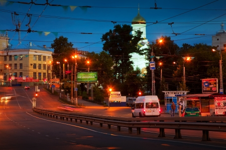 IVANOVO, RUSSIA - JUNE 27:  night view of Ivanovo - Lenin Avenue on June 27, 2012 in Ivanovo, Russia. First mention of the city dates back to 1561 year. Population: Population: 409,277 (2010 Census)