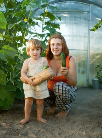 gravida: Happy woman and baby girl with cucumber harvest in hothouse