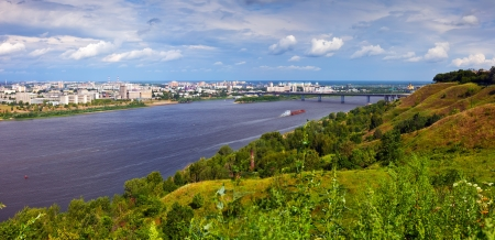 oka: Summer view of Nizhny Novgorod with Oka river. Russia