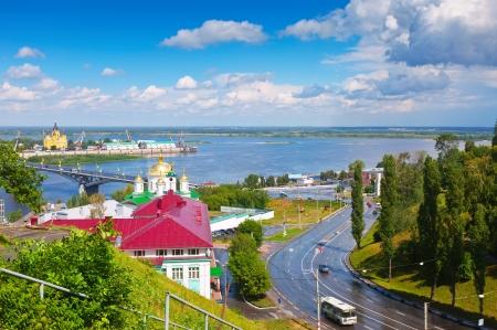 nizhni novgorod: View of Nizhny Novgorod. Kanavinsky bridge and Junction of Oka river with Volga River