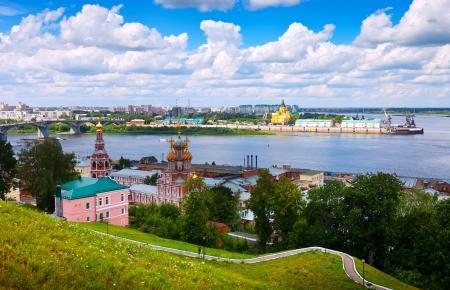 gorky: Summer view of historic district of Nizhny Novgorod. Russia Stock Photo