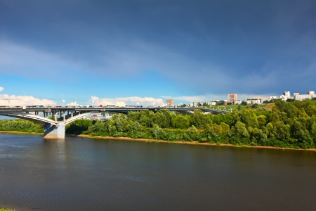 oka:  Kanavinsky bridge through Oka River in Nizhny Novgorod. Russia