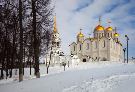 constructed: Uspenskiy cathedral  at Vladimir in winter, Russia. Constructed between 1158—1160