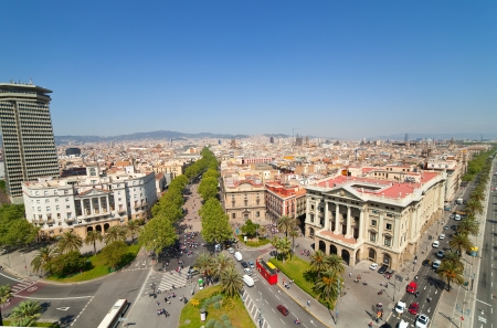 Top view of Barcelona from Columbus statue. Spain