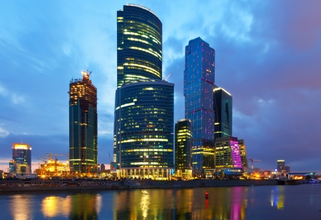 conceived: MOSCOW, RUSSIA - JULE 4: Construction of Moscow International Business Center in Jule 4, 2012 in Moscow, Russia. First conceived project in 1992. Project occupies area of 60 hectares. IBC in morning