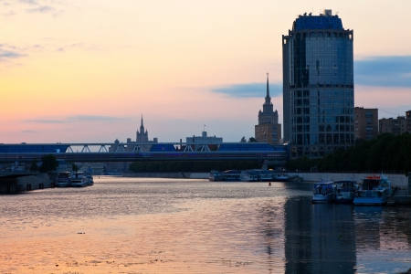 moskva river: View of Moscow. Moskva River in summer morning
