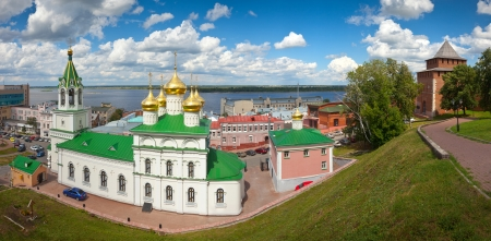 Church of the Nativity John the Baptist and Kremlin wall  at Nizhny Novgorod in summer sunny day. Russia Stock Photo - 15143775