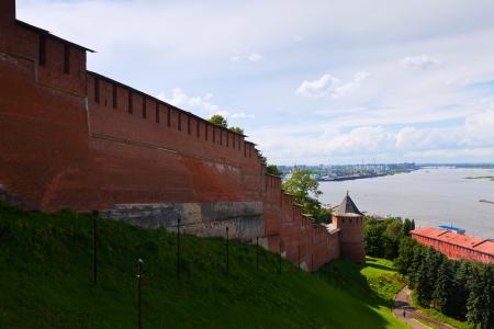 kreml: Kremlin wall and junction of Oka river with Volga at Nizhny Novgorod in summer  Russia