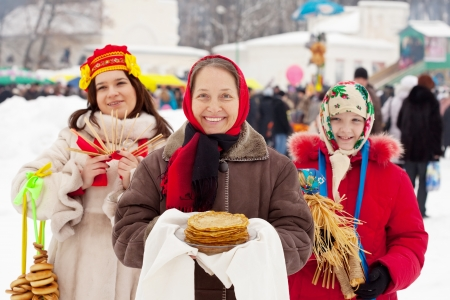 happy women celebrating  Shrovetide  at Russia photo
