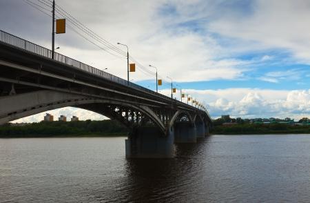 nizhni novgorod:  Kanavinsky bridge through Oka River in Nizhny Novgorod. Russia