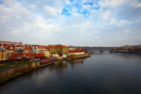 Morning view of Prague from Charles bridge. Czech Republic  photo