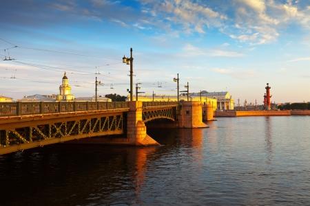 View of St. Petersburg. Palace Bridge in morning  photo