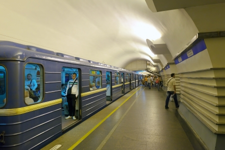 ST. PETERBURG, RUSSIA - AUGUST 2: Metro station Nevskiy Prospekt in August 2, 2012 in St. Petersburg, Russia. Metro began work November 15, 1955. Now total length of 112.54 km