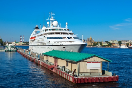 cruiseliner: cruise liner  in the port of Saint Petersburg. Russia