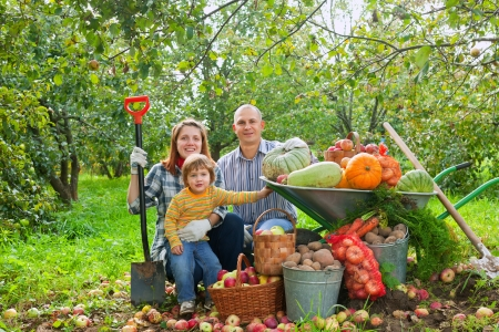 Happy parents and child with  harvested vegetables in garden Stock Photo - 15316680