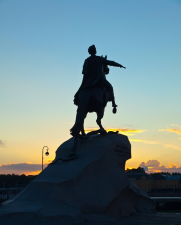 Equestrian statue of Peter the Great in sunrise. Saint Petersburg, Russia photo