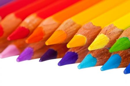 copyspase: Many pencils with copyspase over white Stock Photo