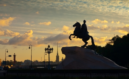 Equestrian statue of Peter the Great in dawn. Saint Petersburg, Russia photo