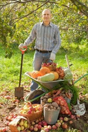 average age: man with vegetables harvest in garden