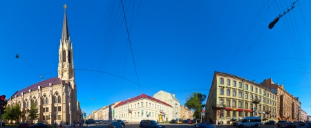 ST.PETERSBURG, RUSSIA - AUGUST 3: Street at Vasilyevsky Island in August 3, 2012 in St.Petersburg, Russia. Buildings of island began in mid 1710 Stock Photo - 15438920