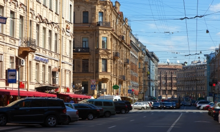 malaya: ST.PETERSBURG, RUSSIA - AUGUST 3: Malaya Morskaya street in historic part of city in August 3, 2012 in St.Petersburg, Russia. The city was founded in 1703, is now the second largest city in Russia Editorial