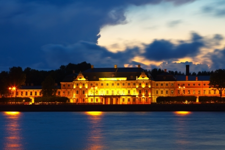 View of St. Petersburg. Vasilyevsky Island in sunset photo