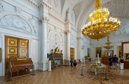 ST.PETERSBURG, RUSSIA - AUGUST 1: Interior of Winter Palace in August 1, 2012 in St.Petersburg, Russia. State Hermitage was founded in 1764. Now it is largest in Russia and one of largest art museums