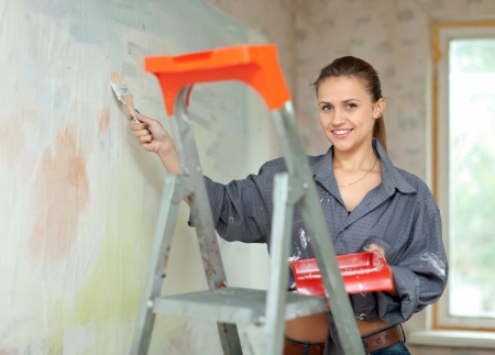 Happy woman paints wall with brush Stock Photo - 15470582