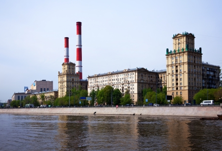 moskva river: View of Moscow. Thermal power station at embankment of Moskva River Stock Photo