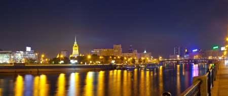 moskva river: View of Moscow. Moskva River in summer night