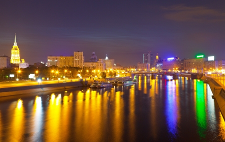 moskva river: View of Moscow.  Moskva River and Borodinsky Bridge in simmer night
