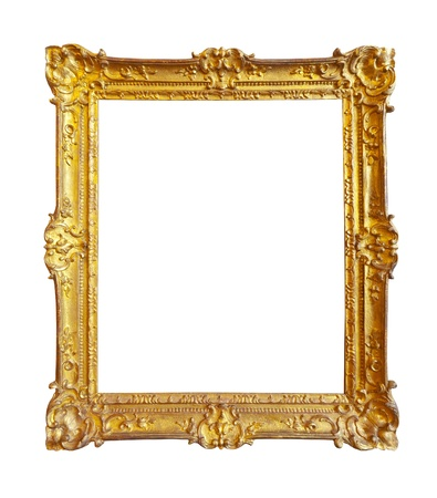 antique frame: gold picture frame. Isolated over white background