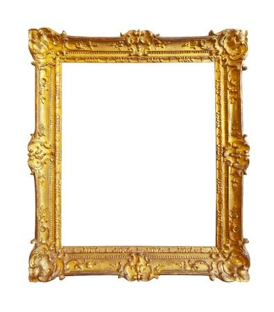 ornate gold frame: marco de la imagen de oro. Aislado sobre fondo blanco Foto de archivo