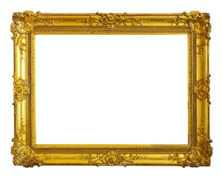 baroque picture frame: gold picture frame. Isolated over white background