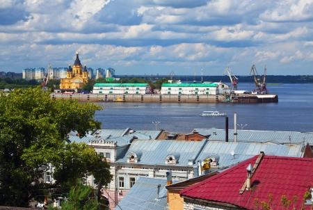 oka: View of Nizhny Novgorod. Junction of Oka river with Volga