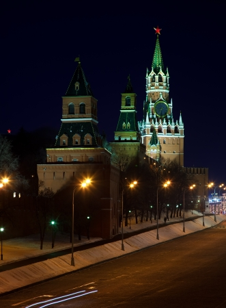 Towers at Moscow Kremlin in night. Moscow, Russia  photo