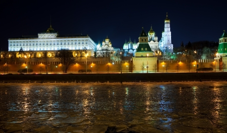 View of Moscow Kremlin in winter night. Russia photo