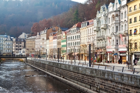 czechia: CARLSBAD, CZECHIA - NOVEMBER 23:  View of Carlsbad on November 23, 2011 in Carlsbad, Czechia.  Town is historically famous for its hot springs (13 main springs, about many smaller, and warm-water River) Editorial