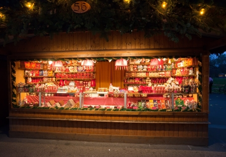 VIENNA, AUSTRIA  - NOVEMBER 22: Store  at Christmas Markets near old city hall in Austria. The Vienna Christmas Market on November 22, 2011 in Vienna, Austria. Kiosk with sweets