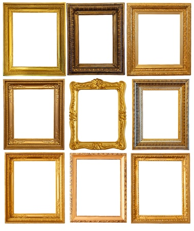 Set of few gold picture frames photo